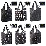 Reusable-Grocery-Bag-Shopping-Tote-Bags Foldable Reusable Bag Large 50LBS Cute Grocery Bags Shopping Totes with Pouch Bulk 6 Pack Ripstop Fabric Machine Washable Durable Lightweight