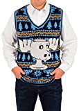 Product review for Men's Christmas Vacation Moose Mug Ugly Sweater Vest in Blue By Festified