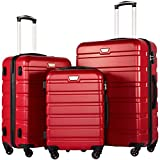COOLIFE Luggage 3 Piece Set Suitcase Spinner Hardshell Lightweight TSA Lock (red3)