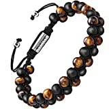 murtoo Essential Oil Bracelet Adjustable Beads Bracelet Lava Rock Stone Bracelet Perfume Diffuser Bracelet, 7''-9'' Gift (Tiger Eye+Matte Bead 6.5mm)