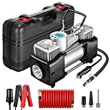 Yome Portable Dual Cylinder Air Compressor Pump, 12V 150PSI Heavy Duty Portable Air Pump with LED Flashlight and LCD Digital Display Gauge for Car Tires, Balls, Other Inflatables