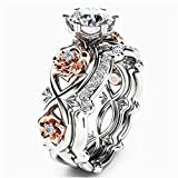 Bookear Women Silver & Rose Gold Filed White Wedding Engagement Floral Ring Set (8)