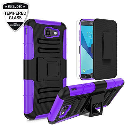 Samsung Galaxy J7 2017/J7 Prime/J7 Perx/J7 V J7V/J7 Sky Pro/Galaxy Halo Case w/Tempered Glass Screen Protector, Heavy Duty Shockproof Protective Hybrid Case w/Belt Clip Kickstand for Men/Boys, Purple