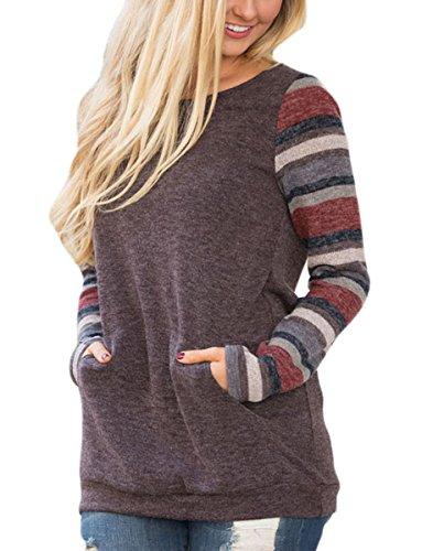 5618fc6c8 Women's Color Block Long Sleeve Sweatshirt Tunic Tops Lightweight Kangaroo  Pocket T Shirts