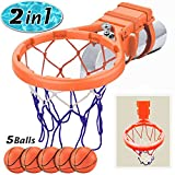 Bath Toys (2 in 1) Basketball Hoop & Balls Set | with 5 Balls, Strong Suction Cups and Pump |Fun Educational Bathroom Toy Bathtub/Swimming Pool Basketball Shooting Game Gadget |Kid Baby Boy Girl Gift