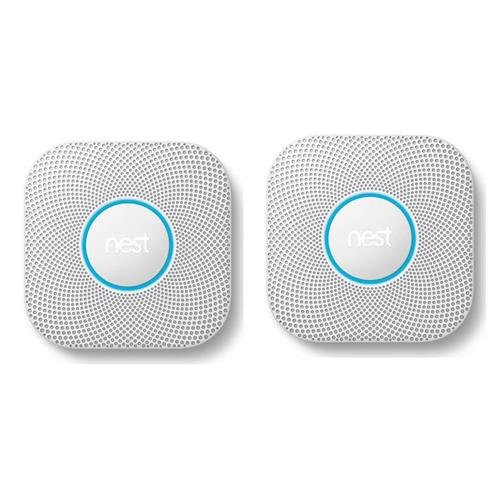 Nest Protect 2nd Gen Wired Smoke and Carbon Monoxide Alarm, White - 2-Pack