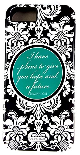 "Scripture Art Katherine ""I Have Plans To Give You Hope And A Future"" Jeremiah 29:11 Two Piece iPhone 5/5S Tough Case Damask Inspirational Faith"