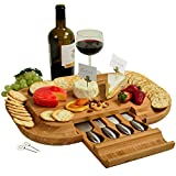 Upscale Bamboo Cheese Board - 50% Larger Cutting Surface than Similar Boards- 4 Stainless Steel Cheese Tools in a Slide Out Hidden Drawer plus Cheese Markers - Designed & Quality Assured in California