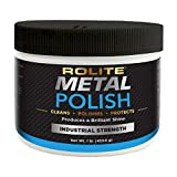 Rolite Metal Polish Paste for Aluminum, Brass, Bronze, Chrome, Copper, Gold, Nickel and Stainless Steel (1, Single)