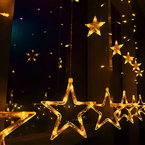 Estrella guirnalda de luz LED 5m 138LED cortina carámbano lámpara, bodas, Navidad fiesta...