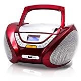 Lauson Boombox with Cd Player Mp3 | Portable Radio CD-player Stereo with USB | Usb & MP3 Player | Headphone Jack (3.5mm) CP542 (Red)