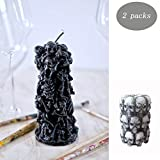 ZhenPony Skull Candle Candles Skull Halloween Festive Decor Gothic Wax Taper Candles (Set of 2) Halloween Candles