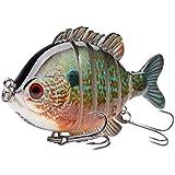 Bassdash SwimPanfish Multi Jointed Panfish Bluegill Swimbaits Topwater Hard Bass Fishing Crank Lure 3.5'/0.85oz (Longear Sunfish)
