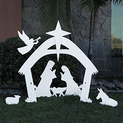 EasyGo Large Outdoor Nativity Scene - Large Christmas Yard Decoration Set and Reusable For Many Years!!