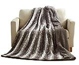 Tache 90 X 90 Inch Grey Snow Giraffe Super Soft Warm Embossed Faux Fur with Sherpa Back Throw Blanket