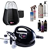 Fascination Spray Tanning Machine and Gun Kit with Norvell Airbrush Tan Solution Sunless Pro Bundle and Black Pop Up Tent