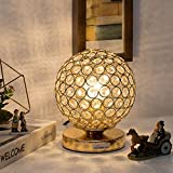 Crystal Ball Table Lamp - HAITRAL Vintage Modern Night Light Lamp, Nightstand Decorative Room Gold Desk Lamp for Bedroom, Living Room, Kitchen, Dining Room (HT-BD012G)