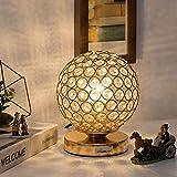 Crystal Ball Table Lamp - HAITRAL Vintage Modern Night Light Lamp, Nightstand Decorative Room Gold Desk Lamp for Bedroom, Living Room, Kitchen, Dining Room (HT-BD012G)