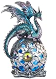 """George S. Chen Imports StealStreet SS-G-71512 Dragon on Light Up LED Orb Statue Display, 8.25""""/Large, Aqua"""