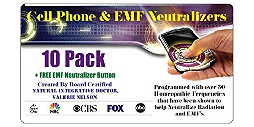10 Cell Phone EMF Protection Radiation Neutralizers + FREE Wearable EMF Neutralizer Button (Worth $15) - Ultra Slim Design - Developed By Board Certified Natural Doctor - Proudly Made in The USA