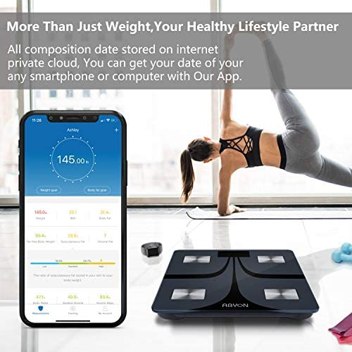 ABYON Bluetooth Smart Bathroom Scales for Body Weight Digital Body Fat Scale,Auto Monitor Body Weight,Fat,BMI,Water, BMR, Muscle Mass with Smartphone APP,Fitness Health Scale 4