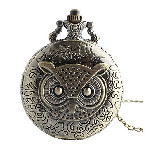 Emiti Bronze Owl Pocket Watch Necklace