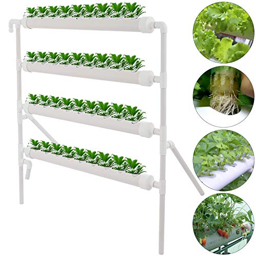 DreamJoy 4 Layers 36 Plant Sites Hydroponic Site Grow Kit 4 Pipes Hydroponic Growing System Water Culture Garden Plant System for Leafy Vegetables Lettuce Celery Cabbage (36 Plant Sites, 4 Layers)