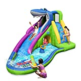 ACTION AIR Inflatable Waterslide, Animal Shark Bounce House with Slide for Wet and Dry, Playground Sets for Backyards, Water Gun & Splash Pool, Durable Sewn with Extra Thick Material, Idea for Kids