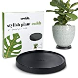"Designer Plant Saucer with Wheels - 9.8"" Rolling Flower Pot Caddy with Casters - Lightweight and Durable Rack, Indoor and Outdoor Stands for House, Patio, and Garden Plants - Black"