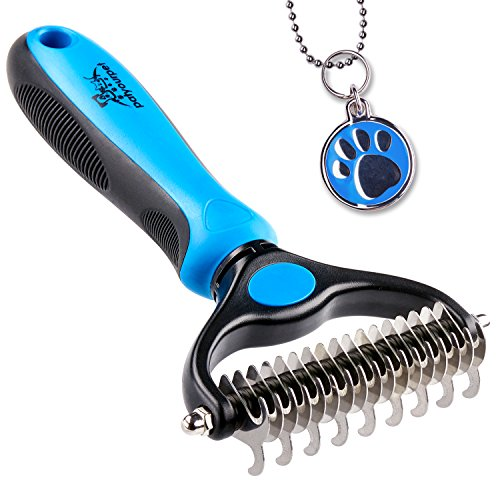 Pet Grooming Tool - 2 Sided Undercoat Rake for Cats & Dogs - Safe Dematting Comb...
