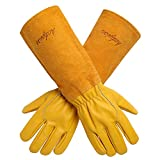 Acdyion Gardening Gloves for Women/Men Rose Pruning Thorn & Cut Proof Long Forearm Protection Gauntlet, Durable Thick Cowhide Leather Work Garden Gloves (X-Large, Yellow)