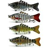Apusale Fishing Bass Lure Multi Jointed Lifelike Trout Swimbait Hard Crankbait Treble Hooks(Style-4pcs)