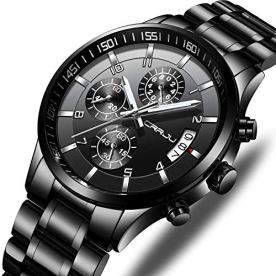Men's Fashion Chronograph Sport Wristwatches,Casual Business Stainsteel Steel Band Waterproof Watch