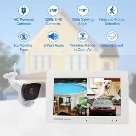 CasaCam-VS2072-Wireless-Security-Camera-System-with-7-Touchscreen-Monitor-and-2pcs-1296p-3MP-FHD-Cameras-AC-Powered-32GB-Micro-SD-Card-Installed
