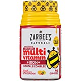 Zarbee's Naturals Children's Complete Multivitamin + Iron Gummies with Our Total B Complex and Essential Vitamins, Natural Fruit Flavors, 90 Gummies