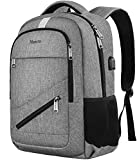 Travel Laptop Backpack, Anti Theft Backpack with USB Charging Port for Men and Women, Water Resistant College School Computer Bookbag, Slim Business Bags with RFID Pocket Fits 15.6 Inch Laptops- Grey