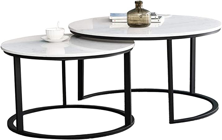 Modern Nest Of Tables Set Of 2 Coffee Table Sofa Side End Table Living Room Large Table 70x70x45 Cm Small Table 55x55x40cm Marble Tabletop Amazon Co Uk Kitchen Home