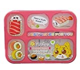 Sushi Japanese Bento Box Lunch Box For Kids Adults - Fashion Rectangle Grid Leak-proof Food Container - 1000 ml 4 Compartments with Spoon & Chopsticks - BPA-free Microwave-safe Boxes (Pink-Red)
