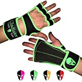 WOMEN'S WEIGHTLIFTING GLOVES & MEN with built in WRIST WRAP & full LEATHER PALM protection NON SLIP grip. G3 Workout Gloves for WOD WEIGHT LIFTING PULLUPS KETTLEBELLS DUMBBELLS (Green, Small)