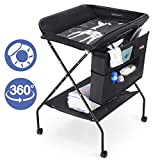 Baby Changing Table with Wheels, FORSTART Adjustable Height Folding Diaper Station Portable Mobile Nursery Organizer with Newborn Clothes & Storage Rack for Infant