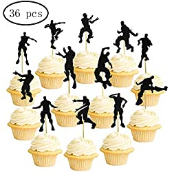 Video Game Dance Action Cupcake Topper (set of 36) for Kids Adult Gaming Birthday Party Cake Decoration Supplies