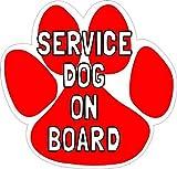 5in x 5in Paw Print Service Dog on Board Sticker