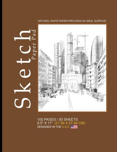 """Sketch Paper Pad: Blank Sketch Pad Notepad, 8.5"""" x 11"""" (21.59 x 27.94 cm), 100 pages, 50 sheets, Soft Durable Matte Cover(Brown)"""