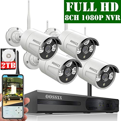 【2019 Update】 OOSSXX 8-Channel HD 1080P Wireless Security Camera System,4Pcs 1080P 2.0 Megapixel Wireless Indoor/Outdoor IR Bullet IP Cameras,P2P,App, HDMI Cord & 2TB HDD Pre-Install