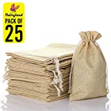 FLAIRYLAND 5' X 8' Natural Linen Burlap Bags with Jute Drawstring for GiftBags Wedding Party Favors Jewelry Pouch, ChristmasBirthday Presents, Snack Sacks and DIY Craft Arts Projects, Lot of 25