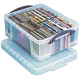 Really Useful Box Plastic Storage Box, 17 Liters, 18 7/8' x 15 3/8' x 8', Clear