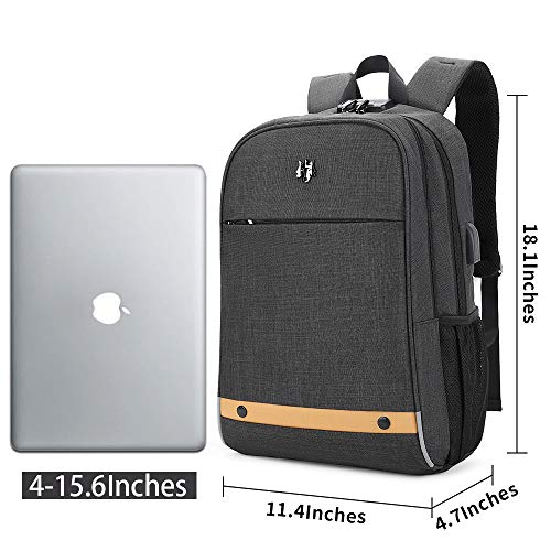 51nc6N %2BzPL - Hoteon Golden Wolf Laptop Backpack with Rain Cover, Anti-Theft Locker, fits up to 15.6 inches Laptop, USB Port, Earphone Port, Water Resistant, Business and Travel Bag for Men & Women (Dark Grey)
