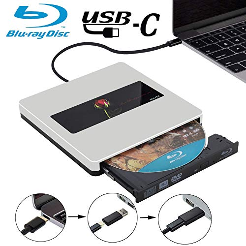 USB C External Bluray Drive NOLYTH USB3.0 External Blu Ray Burner Drive Compatible with MacBook Pro/Air and Windows 10