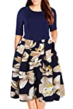 Nemidor Women's Floral Print Vintage Style Plus Size Swing Casual Dress (18, Blue+White)