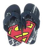 Superman Men's Flip Flops Sandals Beach Comic Thong (Small 7-8) Navy Blue